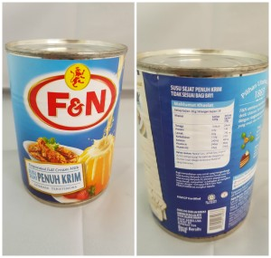 F&N Evaporated Full Cream Canned Milk 390grams / 13.75 ounces. Singapore Origin