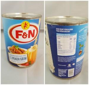 F&N Evaporated Full Cream Canned Milk 390grams / 13.75 ounces. Singapore Origin